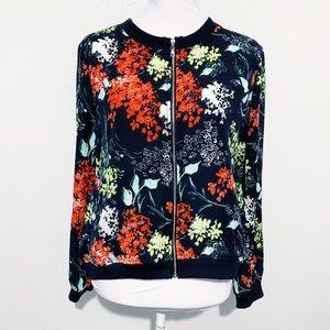 Nue Options Petite Navy Floral Print Zip Up Jacket